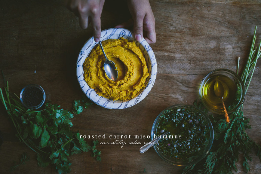 Roasted Carrot Miso Hummus + Carrot Top Salsa Verde | le jus d