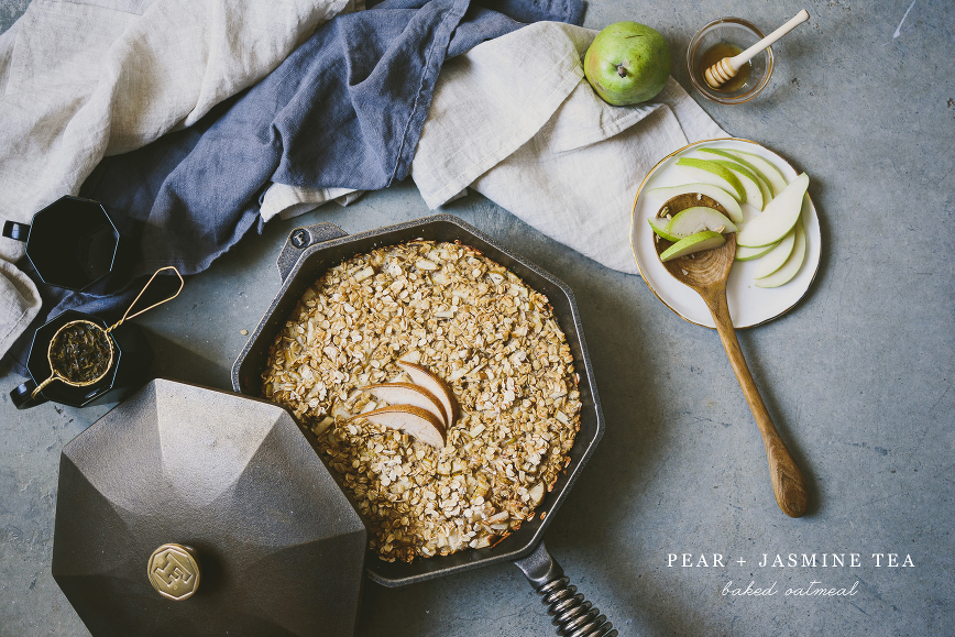 pear _ jasmine green tea baked oatmeal | bettysliu.com