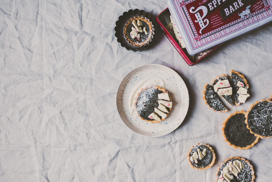 Black Sesame Buttermilk Tartlets topped with Peppermint Bark