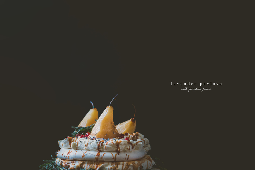 Lavender Pavlova with Poached Pears | bettysliu.com