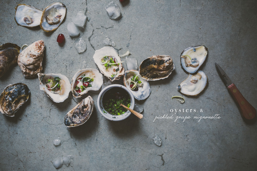 Oysters with Pickled Grape mignonette | bettysliu.com
