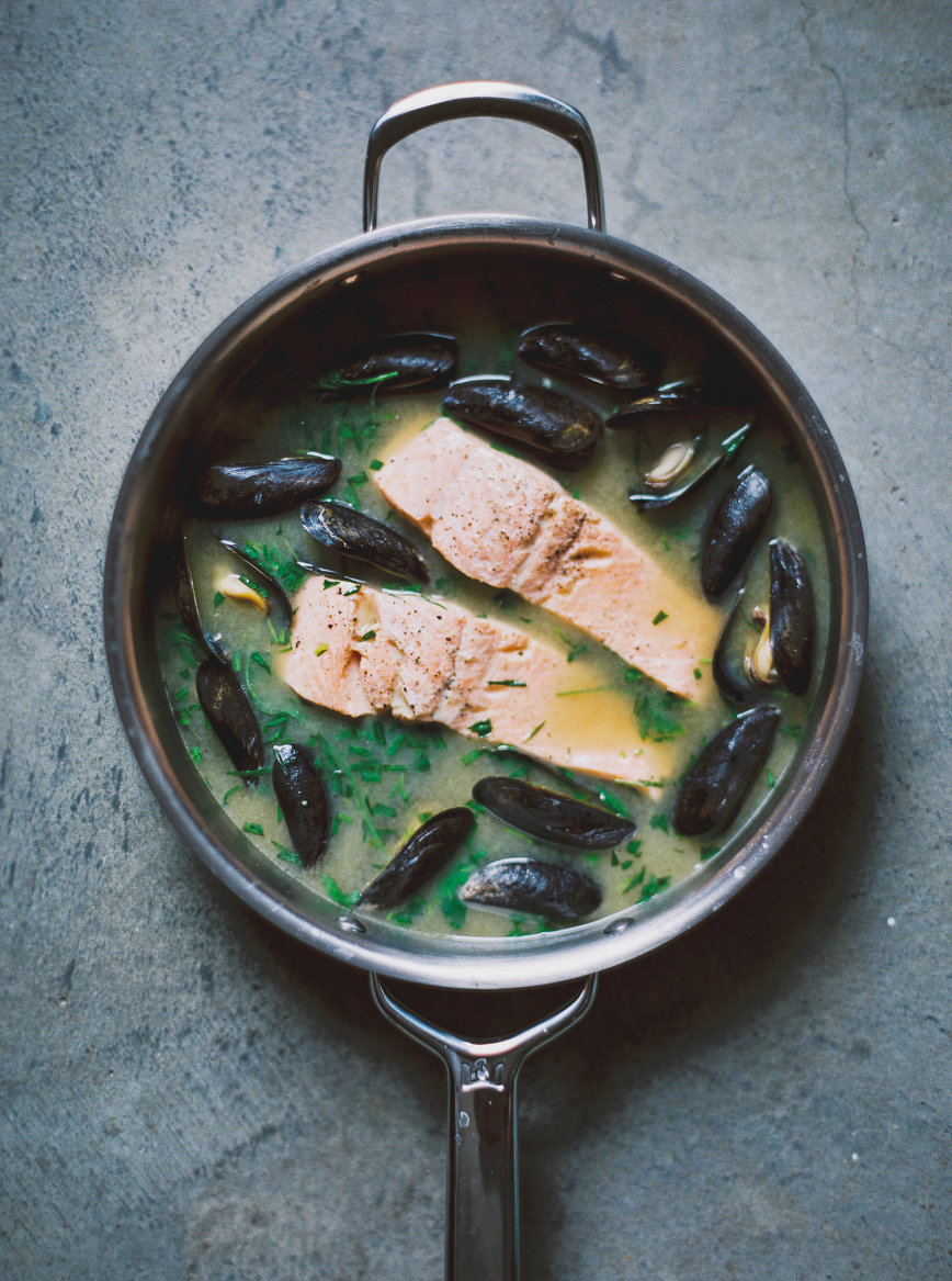 Miso Poached Salmon + Mussels | bettysliu.com