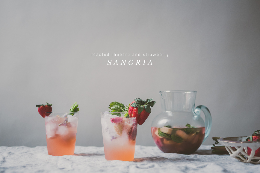 Roasted Rhubarb and Strawberry Sangria | bettysliu.com