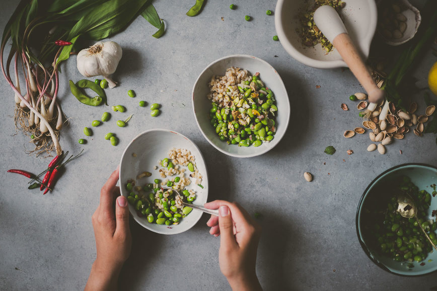 Pickled Ramps Edamame Pea Pearl Barley | bettysliu-10