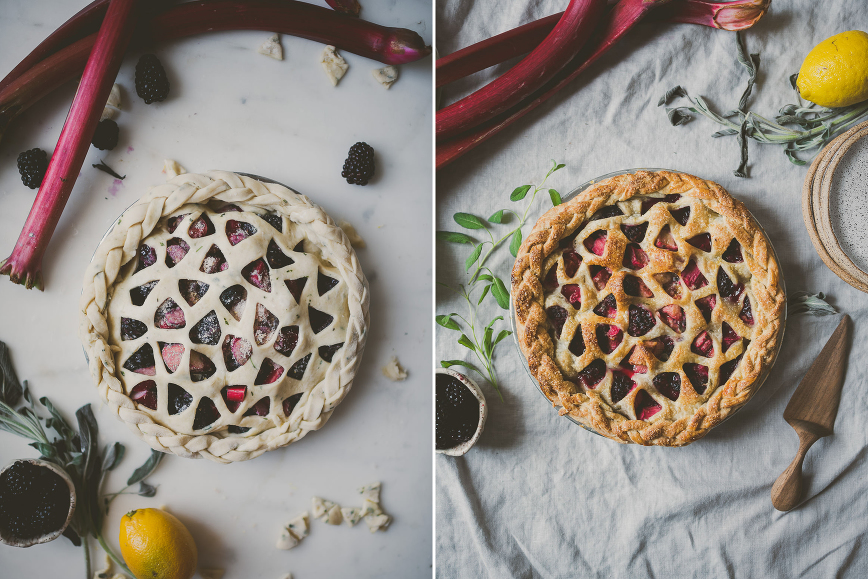 Rhubarb Blackberry Sage Pie | BETTYSLIU.COM