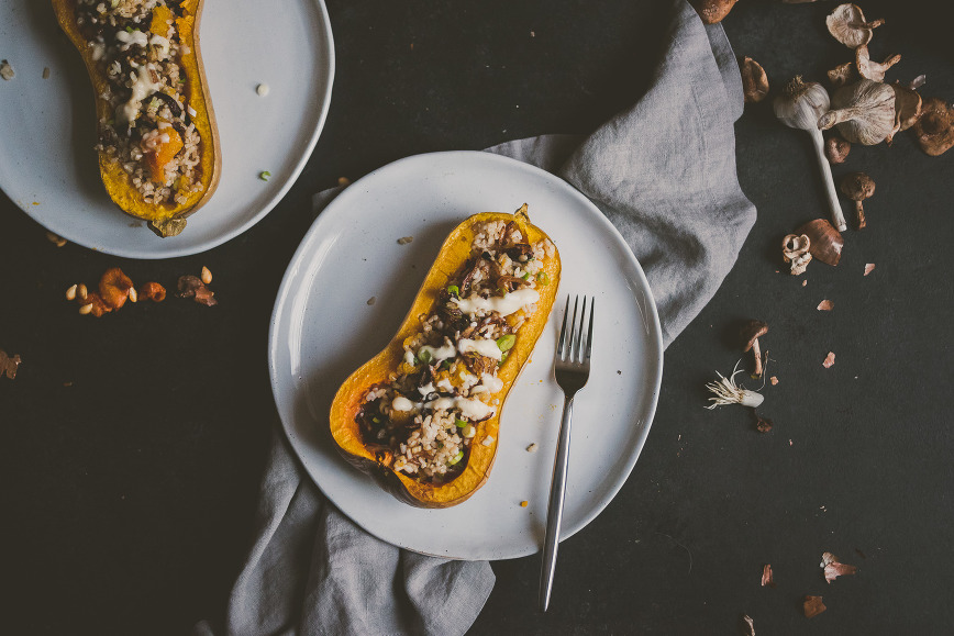 Mushroom Brown Rice Stuffed Butternut Squash | bettysliu.com