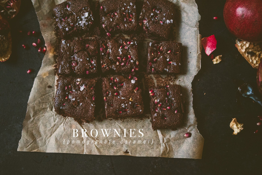 POMEGRANATE CARAMEL BROWNIES COCONUT FLOUR | bettysliu.com